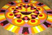 rangoli for diwali with flower