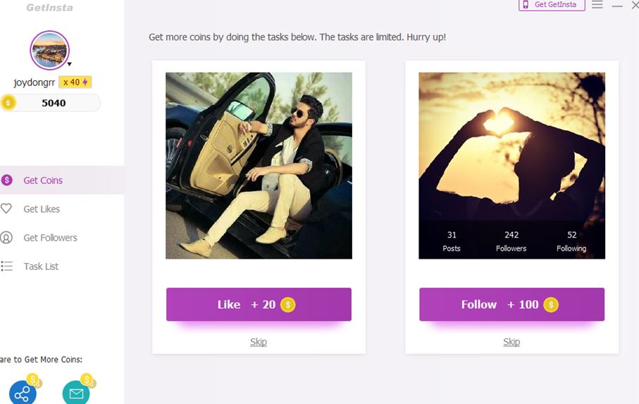 Automatic and Organic Instagram Followers App